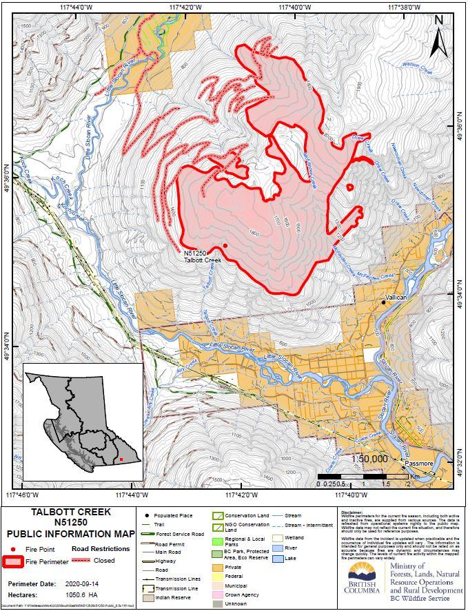 Talbot Creek Wildfire Public Information Map